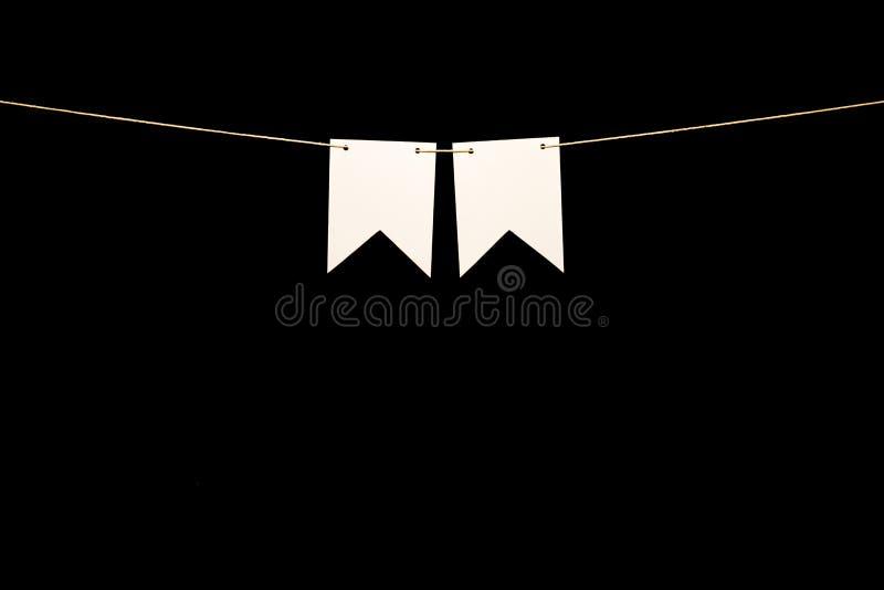 Bunting, 2 белых формы на строке для сообщения знамени стоковые изображения rf