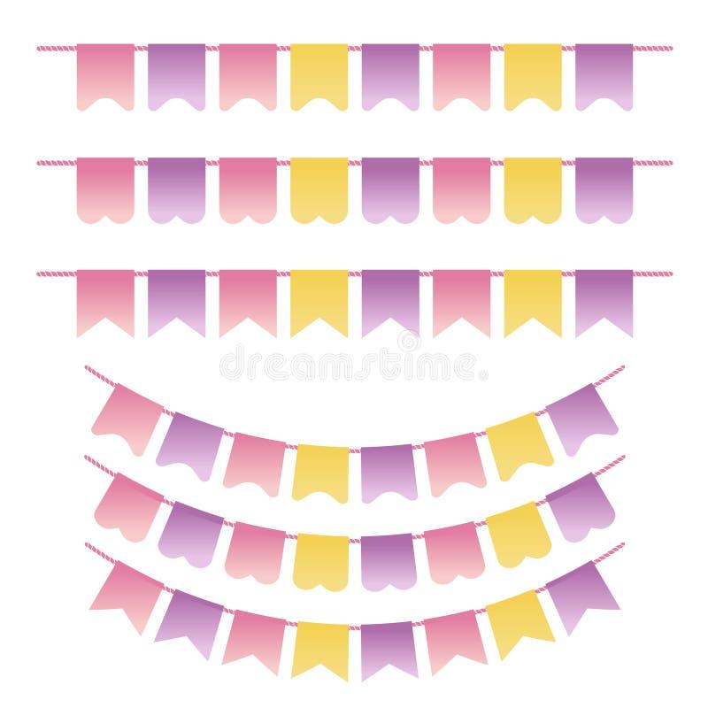 Bunting установленные пастельные фиолетовые, желтые и розовые цвета Смогите быть использовано для scrapbook, поздравительных откр иллюстрация вектора