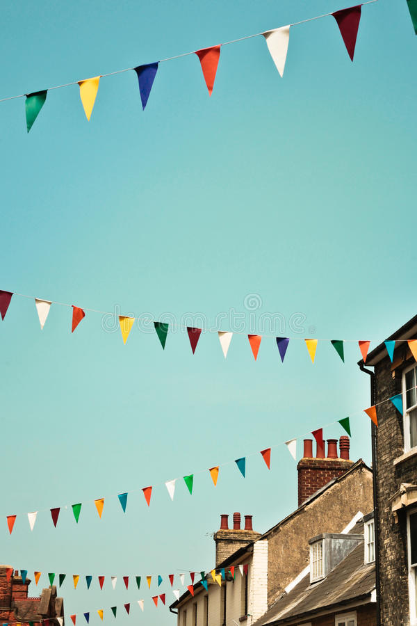 Bunting. Against a blue summer sky in a UK town royalty free stock images