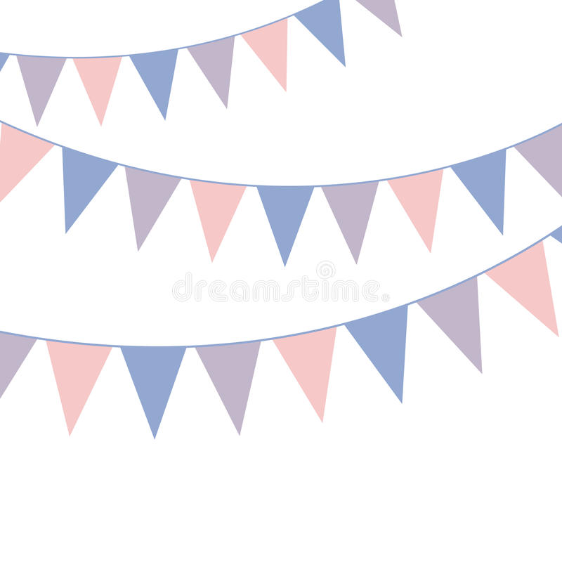 Bunting banner. Rose quarts and serenity colors. Vector illustration vector illustration
