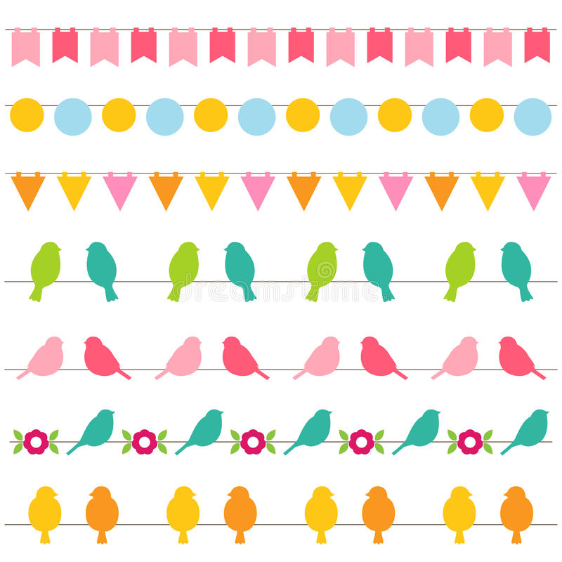 Bunting and birds borders vector illustration