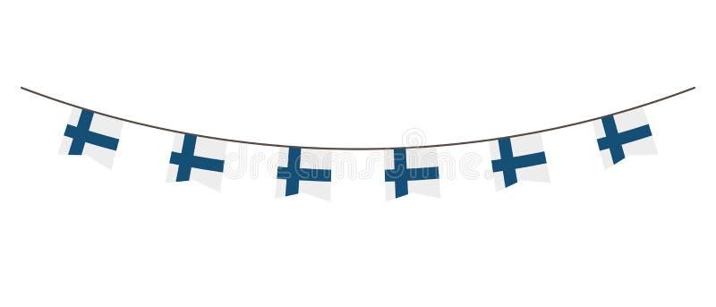 Bunting decoratie in kleuren van de vlag van Finland Slinger, wimpels op een kabel voor partij, Carnaval, festival, viering Voor  royalty-vrije illustratie