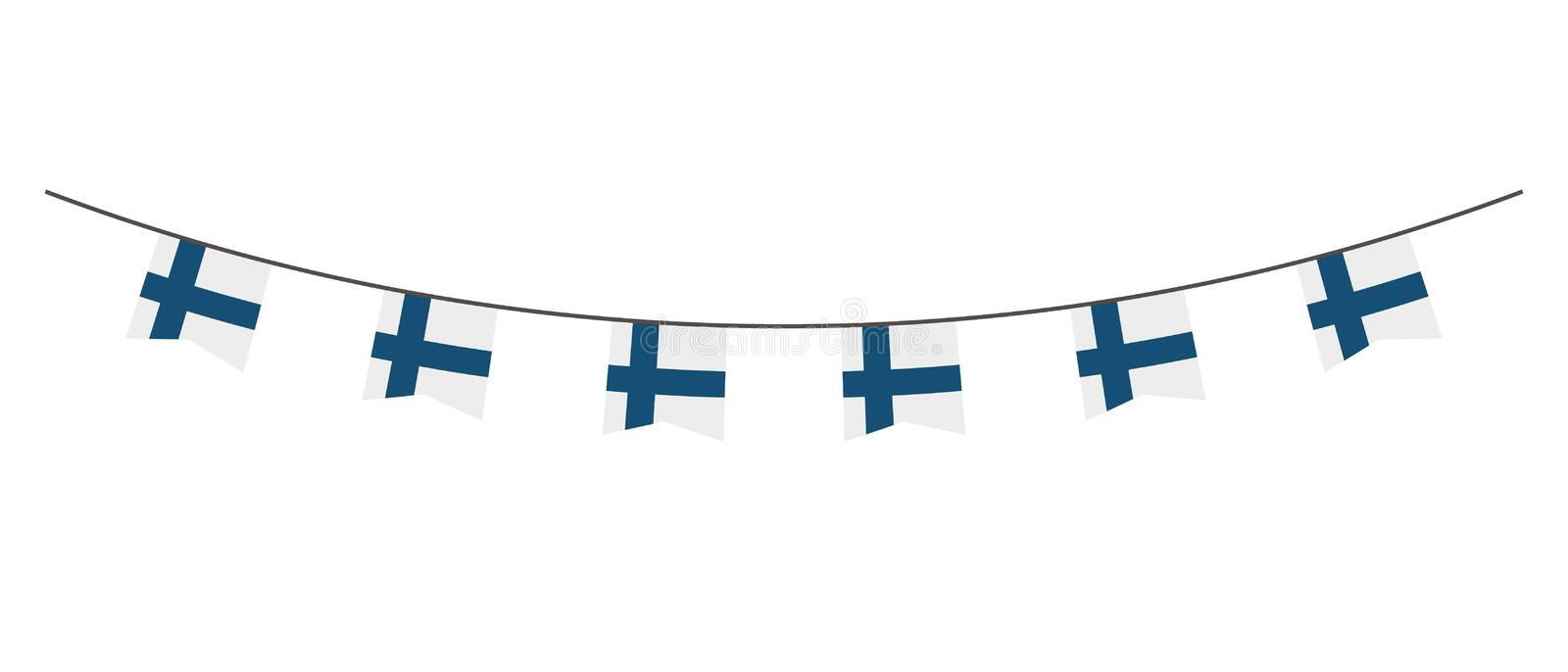 Bunting decoration in colors of Finland flag. Garland, pennants on a rope for party, carnival, festival, celebration. For National. Day of Finland on August 18 royalty free illustration