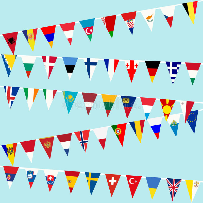 Bunting European countries flags stock illustration