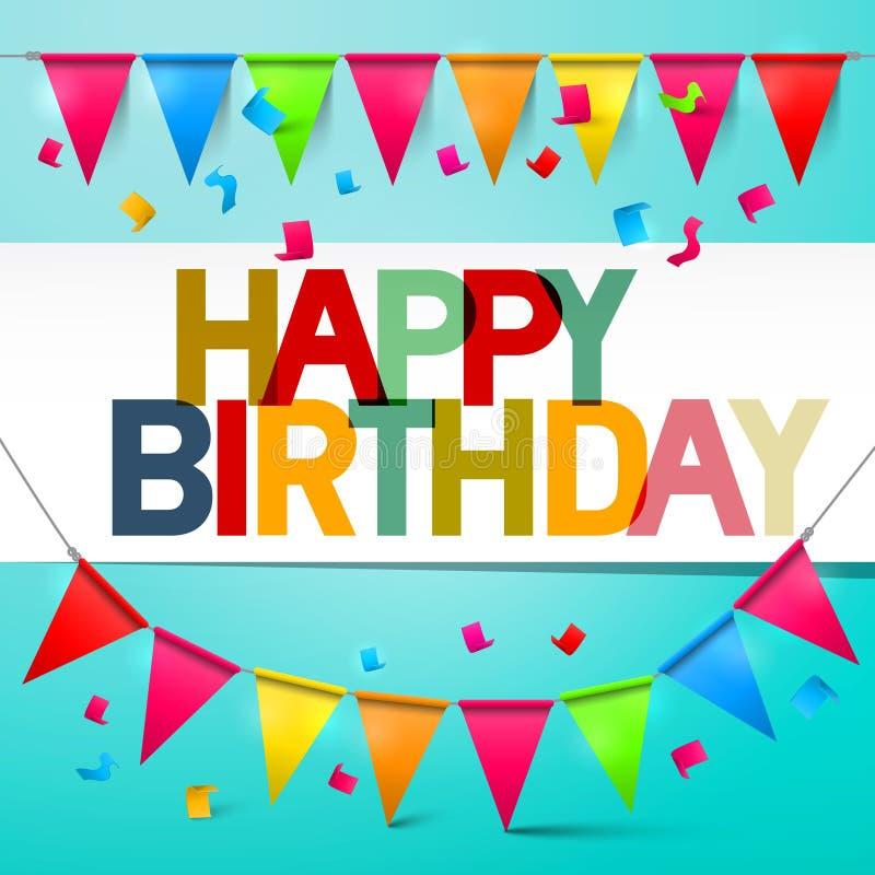 Bunting för kort för Retro vektor för lycklig födelsedag färgrik med flaggor stock illustrationer