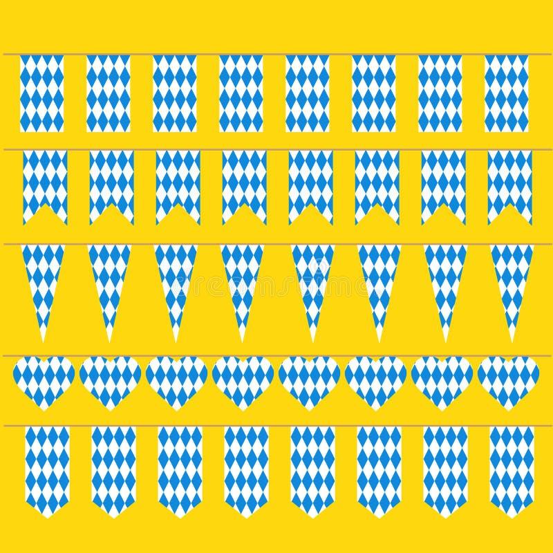 Bunting för Oktoberfest bayersk flaggamodell stock illustrationer