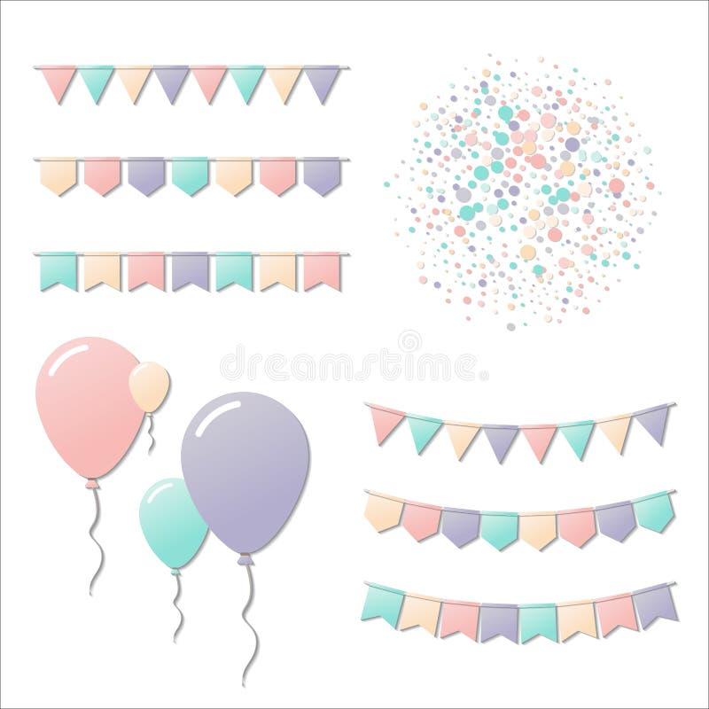 Bunting flaggor och ballonger stock illustrationer