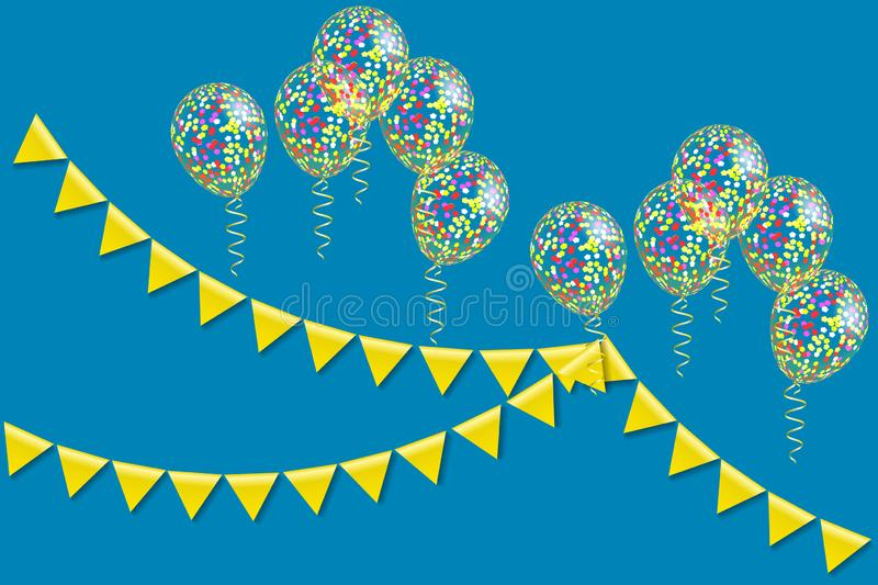 Bunting flaggor och heliumballonger stock illustrationer