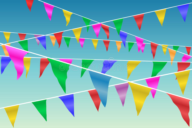 Bunting Flags. Blowing in the Wind Against A Blue Sky vector illustration