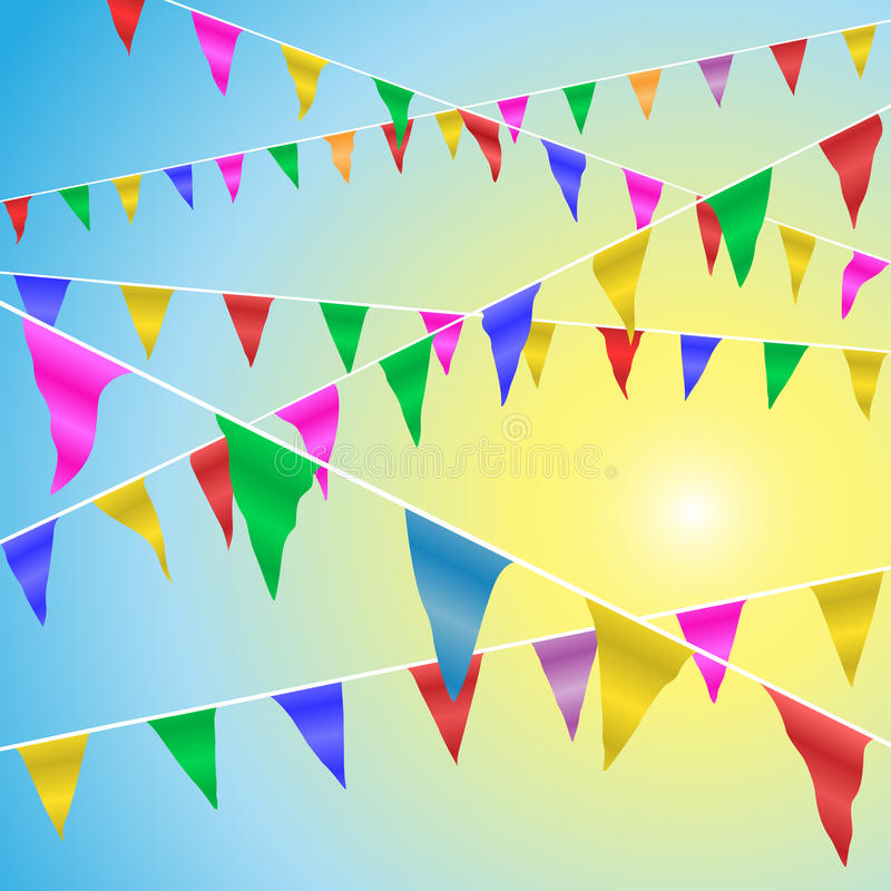Bunting Flags. Blowing in the Wind Against A Blue Sky royalty free illustration