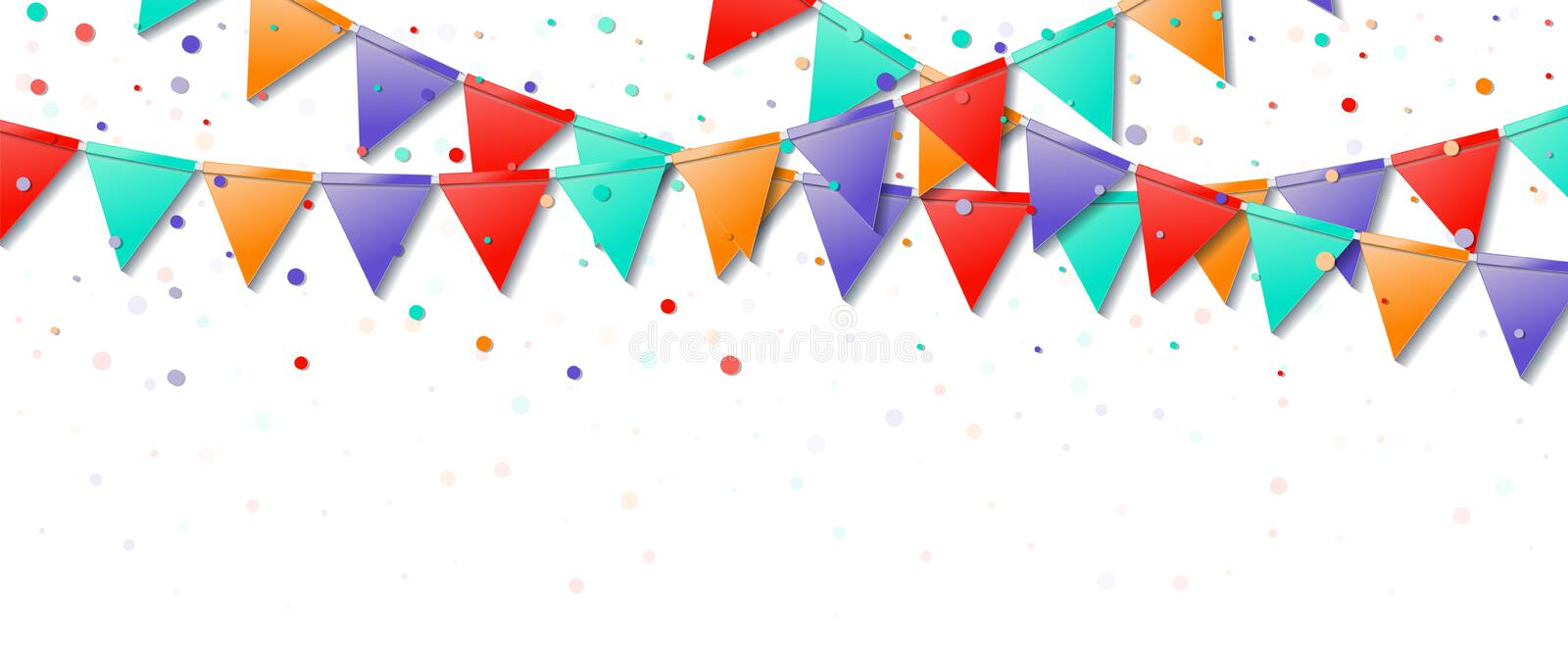 Bunting flags. Glamorous celebration card. Bright colorful holiday decorations and confetti. Bunting flags vector illustration royalty free illustration