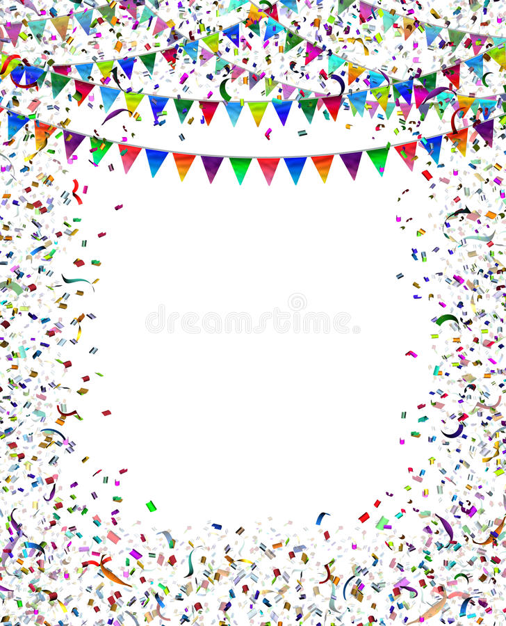 Bunting Flags Confetti Frame. As a celebration and party framed decoration for a festival or carnival celebrating a birthday or important event with blank copy stock illustration