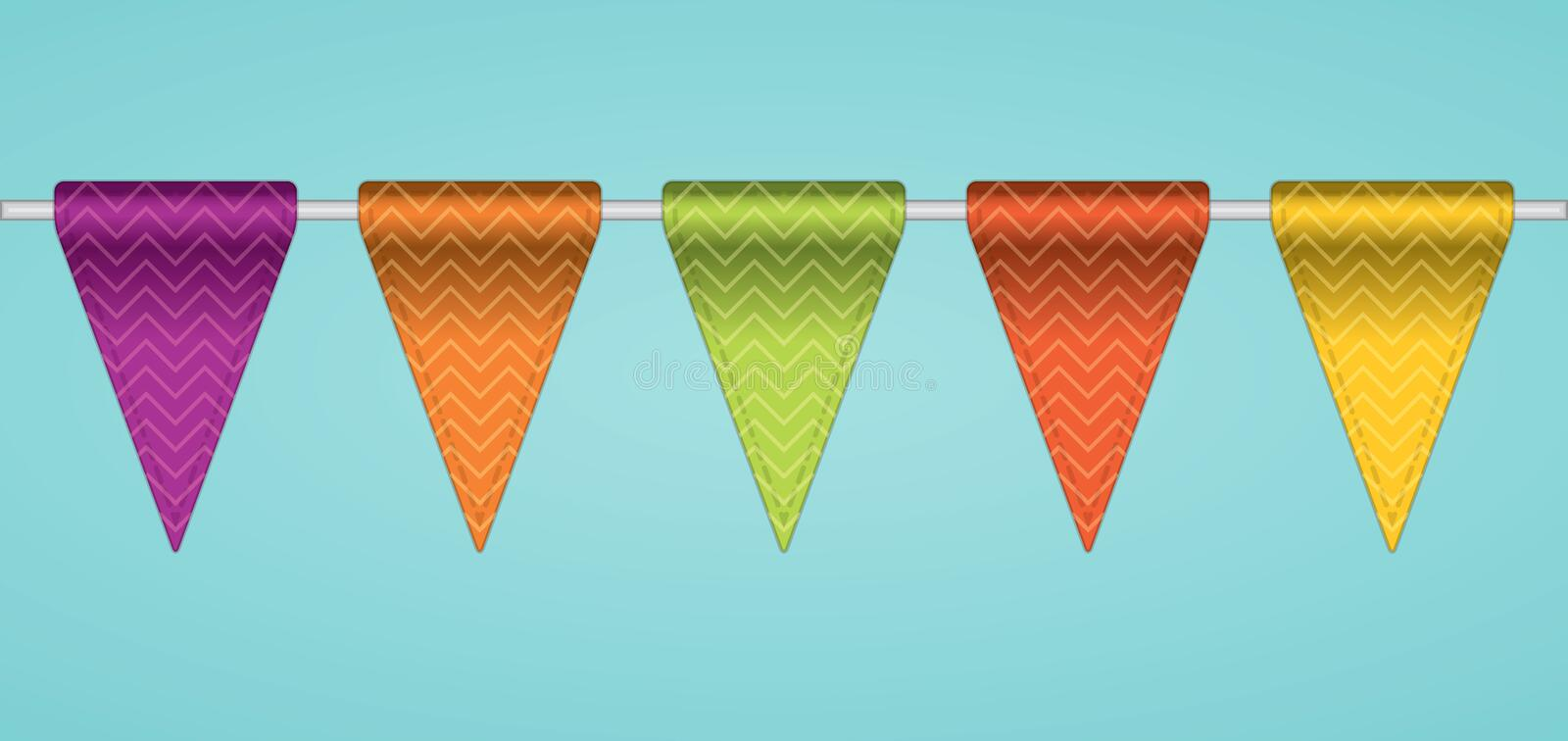 Bunting flags. Bunting flags, decoration flags. Vector illustration royalty free illustration