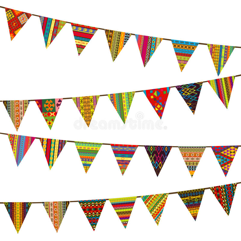 Bunting flags with ethnic motifs. Over white background stock illustration