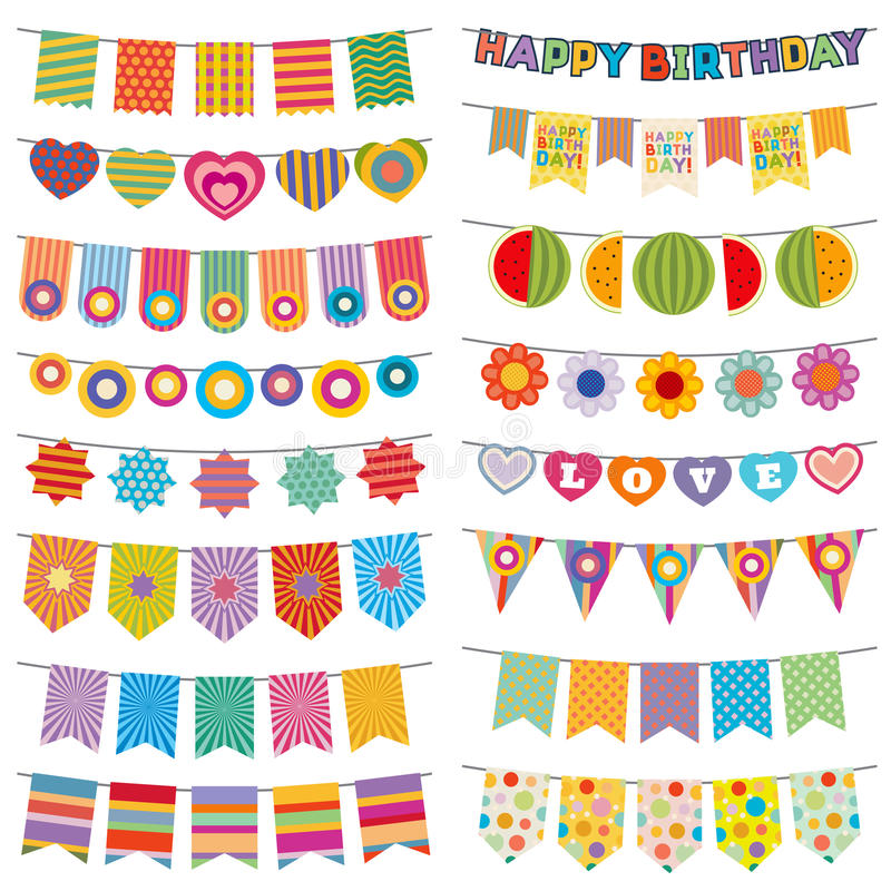 Bunting flags kid party vector decoration royalty free illustration