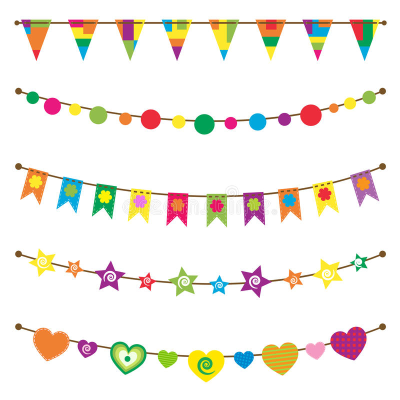 Bunting flags set. Bunting and garland set on white stock illustration