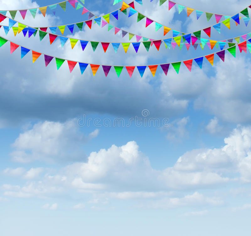 Bunting Flags On A sky. Bunting flags on a blue sky as a group of hanging an advertising and marketing icon of happy celebration for a birthday or special event vector illustration