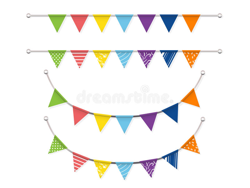 Bunting flags Vector set. Colorful bunting flags Vector set stock illustration