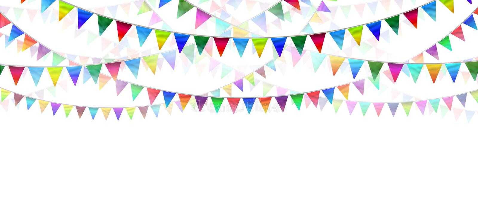 Bunting Flags. On a white background as an advertising and marketing icon of happy celebration for a birthday or special event as a horizontal design element royalty free illustration