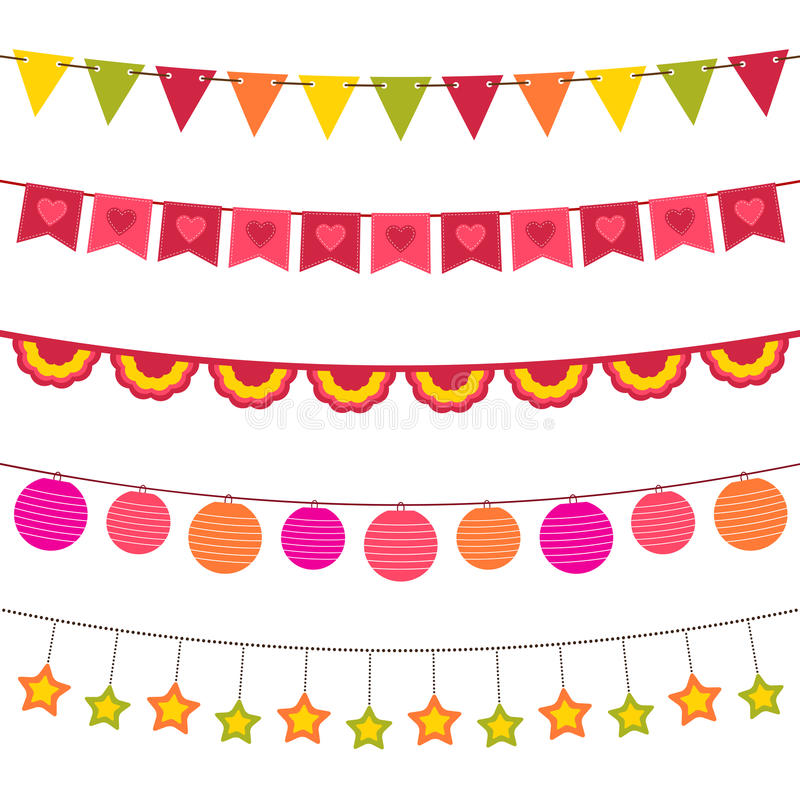 Download Bunting and garland set stock vector. Image of isolated - 23900050