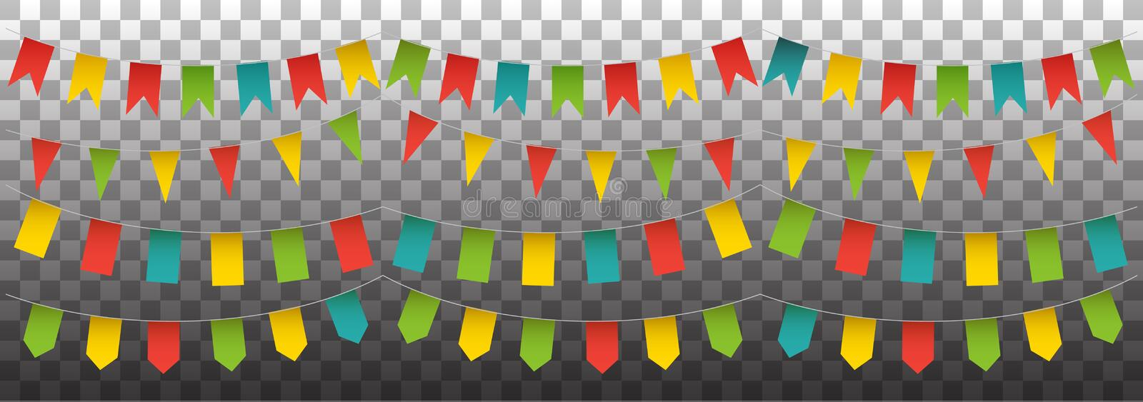 Bunting garlands and flags set. Vector colorful collect stock illustration