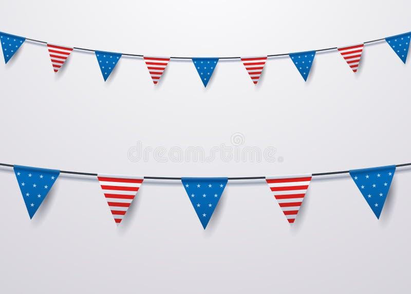 Bunting garnering för USA flagga Vektor isolerad objektillustration för olika nationella händelser vektor illustrationer