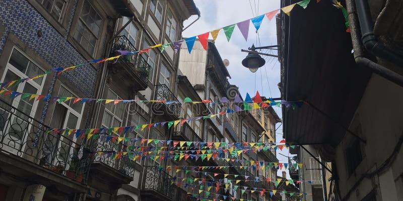 Bunting i Porto, Portugal royaltyfri bild