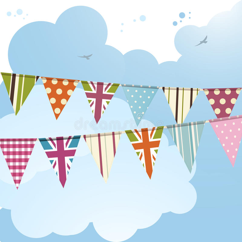 Bunting och blå sky 2 stock illustrationer