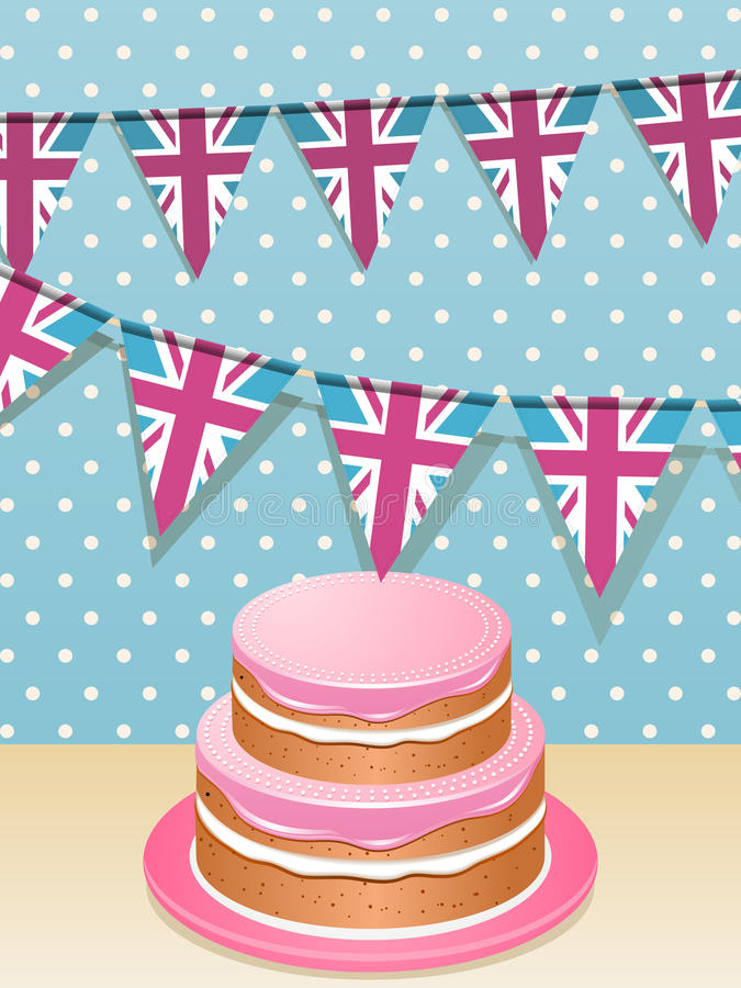 Bunting och cake stock illustrationer