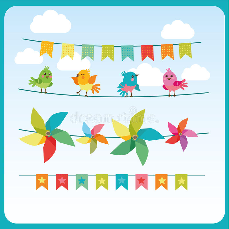 Bunting och Garland Set With Cute Birds och färgliten sol Kommersiella feriegirlander stock illustrationer