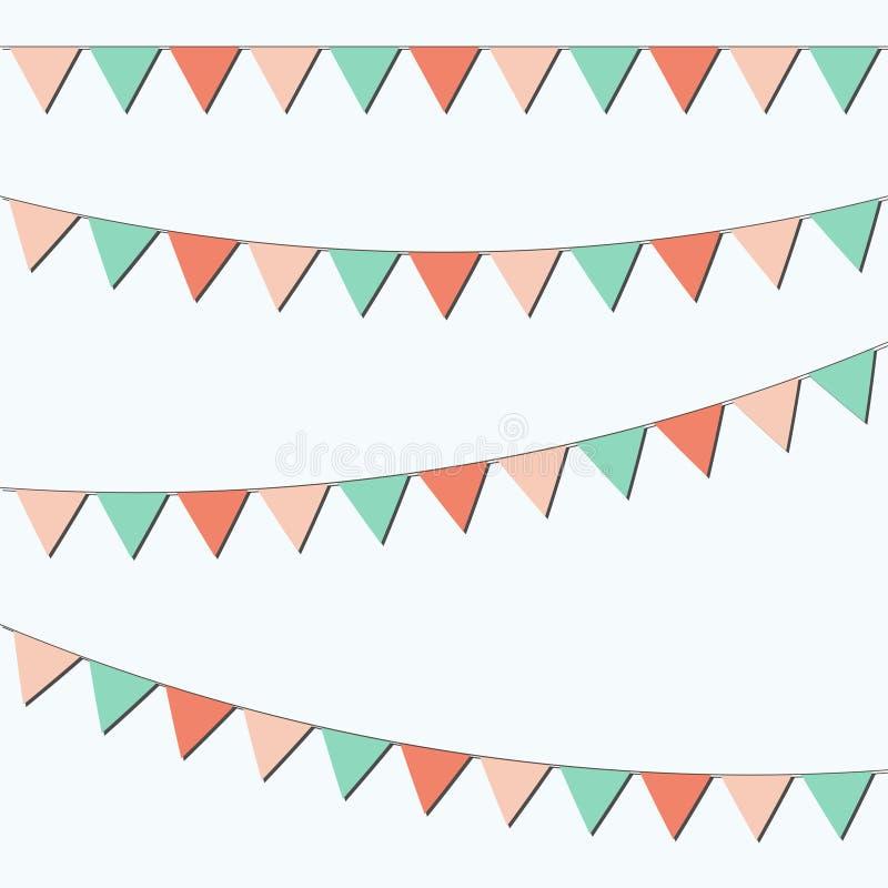 Bunting- och girlanduppsättning Färgrika festliga flaggor också vektor för coreldrawillustration Beståndsdelar för fira, parti- e vektor illustrationer