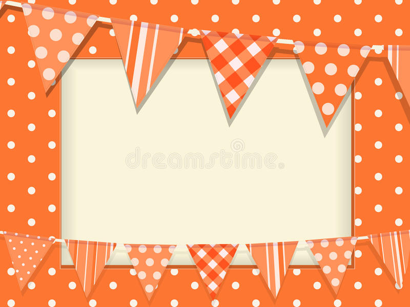 Bunting and orange polka dot frame royalty free illustration