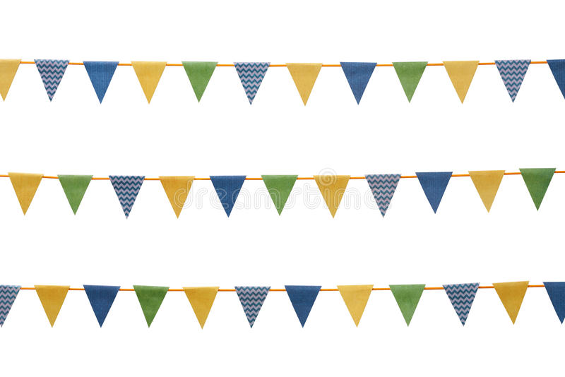 Bunting party flags isolated on white. Bunting party flags made from scrapbook paper isolated on white background royalty free stock images