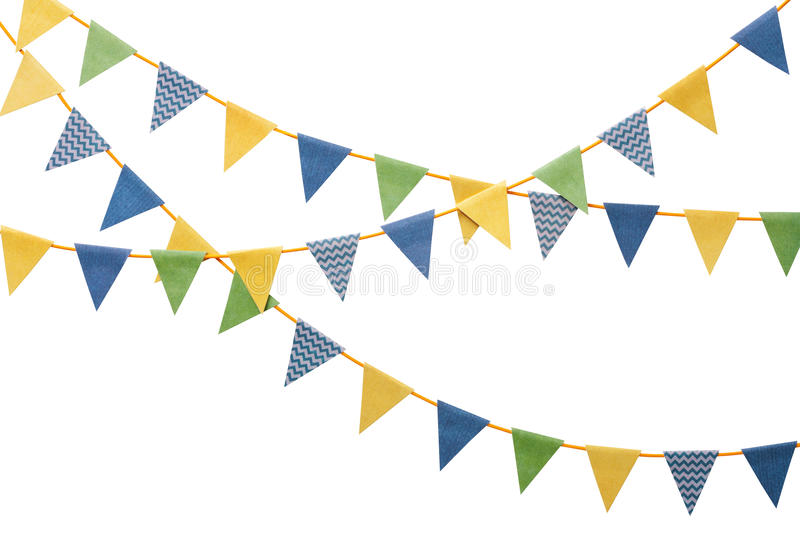Bunting party flags isolated on white. Bunting party flags made from scrapbook paper isolated on white background stock image