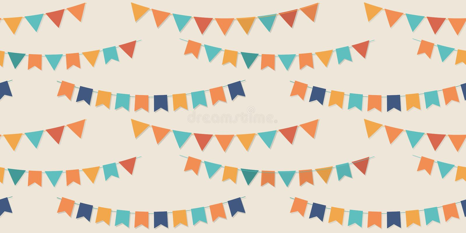 Bunting party flags seamless vector pattern. For your designs vector illustration