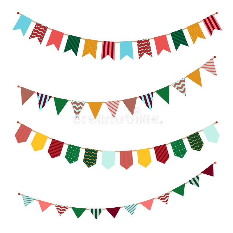 Bunting set. Party flags garland with ornament decor on streamers for festival event or celebrating of birthdays vector. Holiday banners royalty free illustration