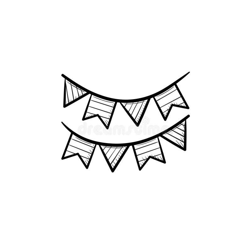 Bunting symbol för klotter för översikt för flaggahuvudhand utdragen stock illustrationer