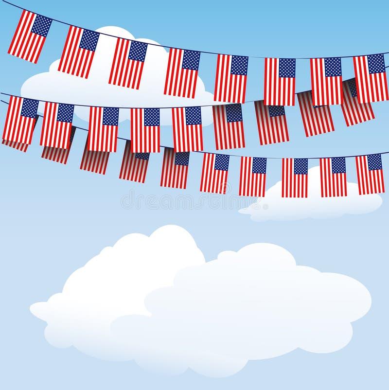 Bunting van sterren en van Strepen vlaggen vector illustratie