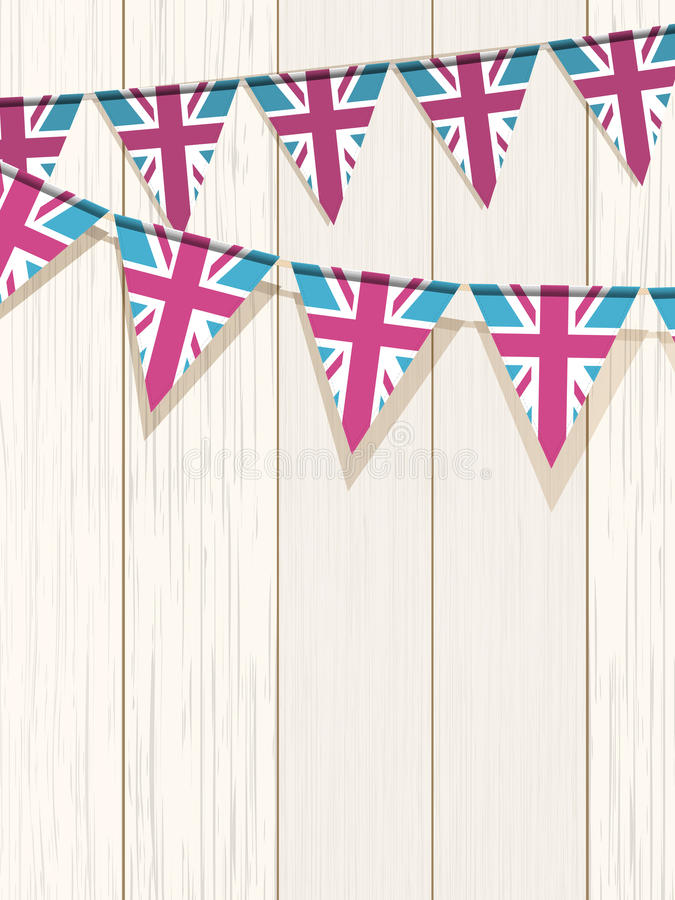 Download Bunting On A Wooden Background Stock Vector - Illustration of triangular, colorful: 24530375
