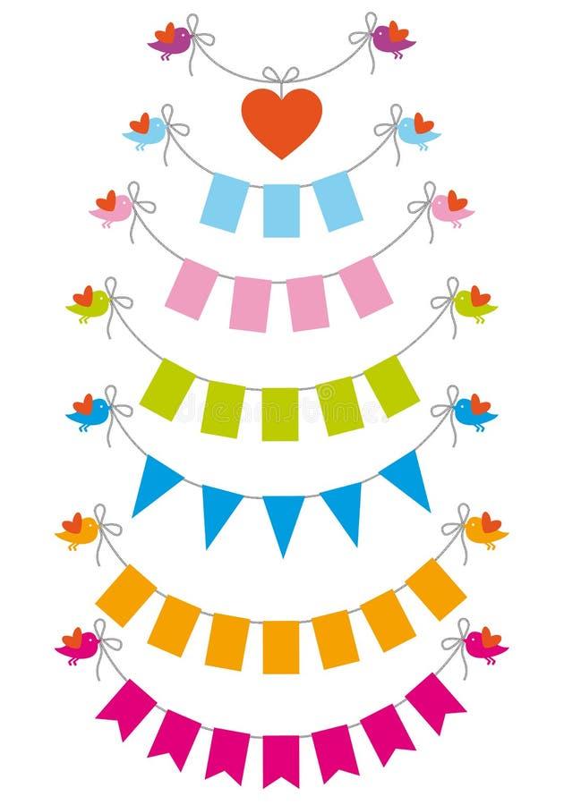 Buntingflaggor med fåglar, vektorset stock illustrationer