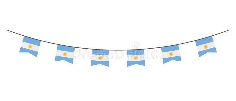 Buntinggarnering i färger av den Argentina flaggan Girland standerter på ett rep för partiet, karneval, festival, beröm För natio stock illustrationer