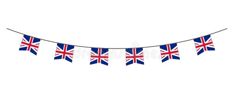 Buntinggarnering i färger av UK-flaggan Girland standerter på ett rep för partiet, karneval, festival, beröm För nationell dag stock illustrationer