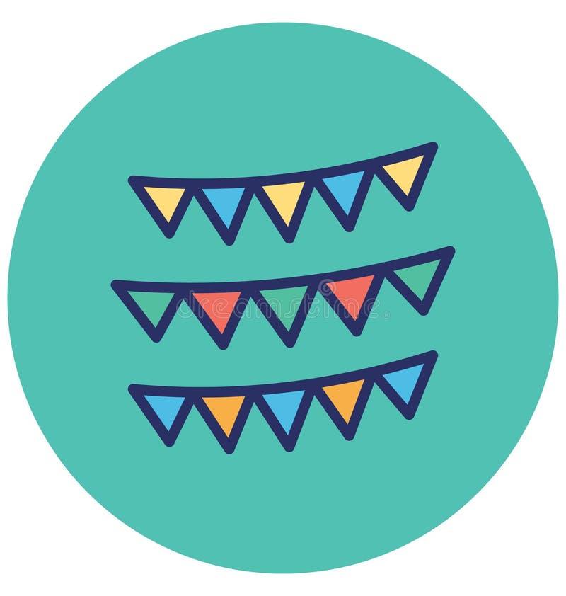 Buntings den garnering isolerade vektorsymbolen, som kan lätt ändra eller redigera Buntings, garnering isolerade vektorsymbolen s royaltyfri illustrationer