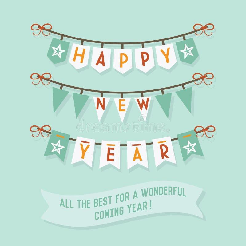 Buntings för lyckligt nytt år på blå bakgrund vektor illustrationer