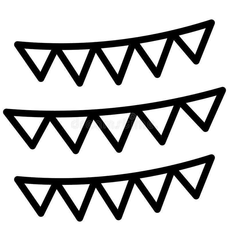Buntings garnering isolerade vektorsymbolen som kan lätt ändra eller redigera royaltyfri illustrationer