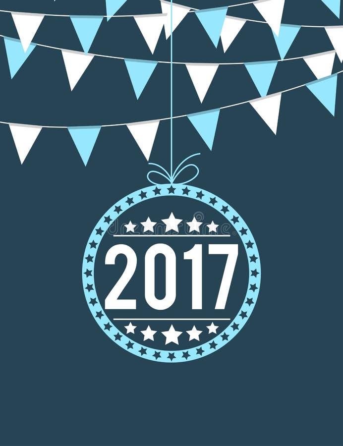 Buntings med årsgarnering 2017 för beröm för nytt år stock illustrationer
