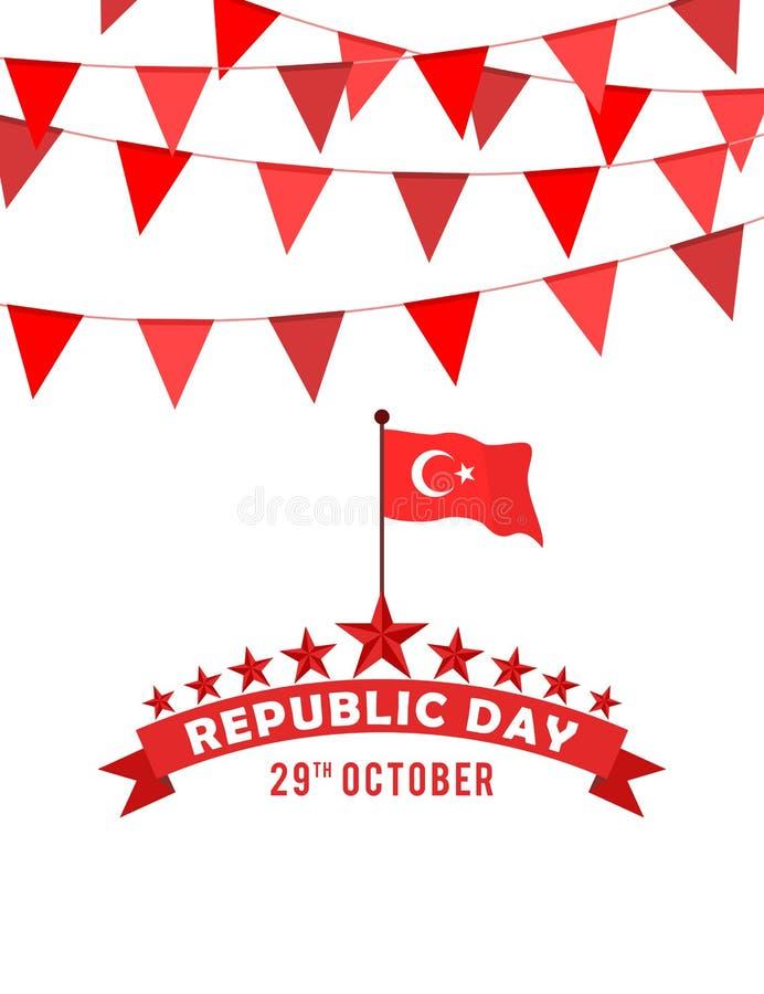 Buntings och flagga för Turkiet republikdag royaltyfri illustrationer