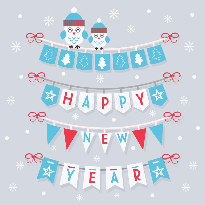 Buntings och garnering för lyckligt nytt år med två gulliga ugglor vektor illustrationer