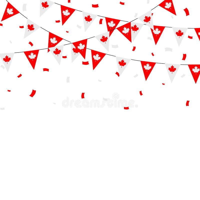 Buntings och konfettier för kanadensisk flagga themed royaltyfri illustrationer