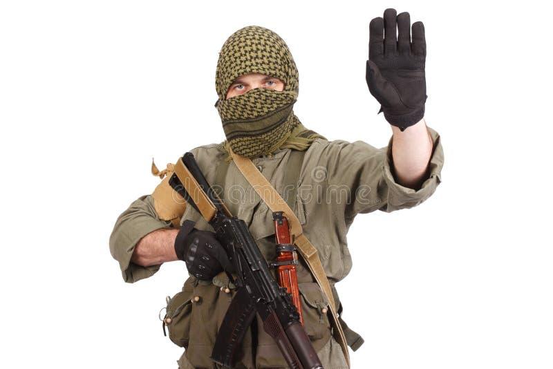 Buntownik z AK 47 obraz stock
